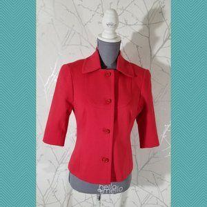 Trina Turk Red Button Front Short Sleeve Blazer